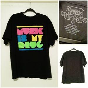 "Spencer's Teeshirt with ""Music Is My Drug"" Print"